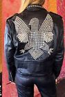 WOMENS FASHION BLACK LEATHER STUDDED MOTO BIKER JACKET MADE TO ORDER ALL SIZES