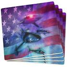 July 4th Patriotic American Galaxy Laser Sharks Set of 4 Coasters