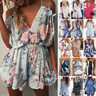 Womens Holiday Mini Playsuit Ladies Jumpsuit Summer Beach Dress Shorts Rompers