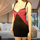 sexy babydoll nighties - Sexy Babydoll Nightie Chemise Lingerie w Bra Top in Black with Hot Pink Lace MNR