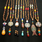 Retro Wood Beads Necklaces Stone Pendant Long Sweater Necklace Women Jewelry Gv