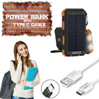 Solar Power Bank 8000mAh Outside Battery + Soft Type-C Data Sync Cable Cord