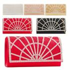 Ladies New Diamante Flap Faux Leather Wedding Prom Clutch Bag
