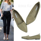 AnnaKastle Women Solid Vegan Leather Point Toe Loafer Chic Flat Shoes Dark Beige