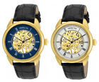 Invicta Men's Specialty Mechanical Gold Tone Stainless Steel/Black Leather Watch image