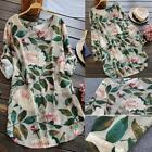 New Charm Women Rolled Up Long Sleeve Floral Printed Tunic Tops Shirt Mini Dress