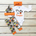 4pcs Halloween Style Baby Clothes Cotton Romper Jumpsuit+Trousers+Hat+Headbands