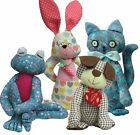 "Soft toy animal sewing KITS choose dog cat frog or rabbit by pcbangles  8"" - 10"""