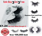 3D Mink Eyelashes 1-5 Pairs natural False Long Thick Handmade Lashes Makeup UK