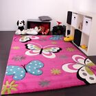 Kids Rug Pink Girls Butterfly Rug Soft Childrens Room Carpet Baby Girl Play Mat