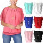 NEW PLUS SIZE WOMENS CHIFFON NECKLACE BLOUSE LADIES RUFFLE LINED BATWING TOP