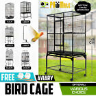 Bird Cage Parrot Aviary Pet Stand-alone Budgie Perch Castor Wheel 2 IN 1 Design