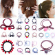 12 Styles Elastic Hair Band Pearl Bowknot Flower Decor Hair Rope Ponytail Holder