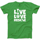 Live Love Rescue Funny Animal T Shirt Dog Mom Crazy Lady Cat Furry Graphic Tee