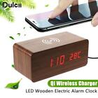 Wireless Charger For iPhone X 8 Samsung S8 S9 Charging Wooden LED Alarm Clock