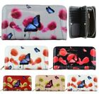 Women's New Faux Patent Leather Floral Butterfly Print Large Wallet Purse
