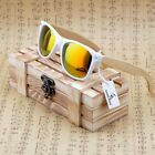 W00-White Frame Wood Bamboo 2015 Fashion Summer Syle Unisex Polarized Mirrored S