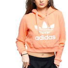 adidas Originals Women Coral Trefoil Logo Cropped Hoodie Sweatshirt Top S M L