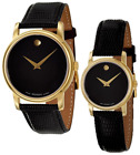 New Movado Museum Wrist Black Leather Watch for Men or Women 2100005 2100006 image