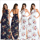 Summer Women Beach Print Floral Long Dress Cocktail Evening Party Prom Maxi Gown