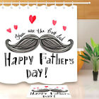 mustache shower curtain - Happy Father's Day Mustache Heart Shower Curtain Liner Bathroom Polyester Fabric