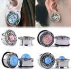 Pair Turquoise Stone Tribal Shield Flare Double Opal Glitter Ear Tunnels Plugs