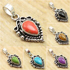 925 Silver Plated ORANGE COPPER TURQUOISE & Other Gems FACTORY DIRECT Pendant
