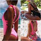 Sexy Lady OnePiece Swimsuit Bandage Bikini Print Multicolor Solid Color swimsuit