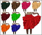 Women Girl 4 Tiered Satin Short Mini Dress Skirt Ruffle Pleated Belly Dance Jupe