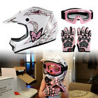 motorcycle helmets goggles - Pink DOT Youth Butterfly Dirt Bike Motocross Motorcycle Helmet + Goggles Gloves