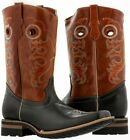 Black Mens Leather Cowboy Honey Western Riding Square Toe Boots