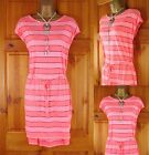 NEW EX M&S LADIES NEON PINK BURNOUT STRETCHY SUMMER TUNIC BEACH DRESS SIZE 10-14