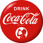 Drink Coca-Cola Red Disc Decal Girl Silhouette Wall Decal 1930s Style Button
