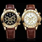OUYAWEI Luxury Day Date Brown Genuine Leather Band Mens Automatic Watch