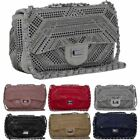 New Diamante Chain Strap Metallic Lock Ladies Fashion Shoulder Bag