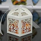 50pcs Deluxe Party Wedding Favor Laser Cut Pearl Paper Ribbon Candy Boxes Gift B