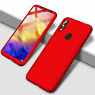For Xiaomi Redmi 7 7A 6A Note 8 7 6 5 Pro 360° Full Cover Case + Tempered Glass