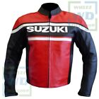 Red SUZUKI 4315 Biker Pure Leather Jacket. MOTORCYCLE CLOTHING AND ACCESSORIES