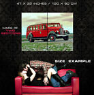 Vintage Red Bus Color Old Retro HDR Car Wall Print POSTER CA