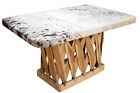 Equipale Coffee Table in Rustic Black White Cowhide Top Outdoor Woven Furniture