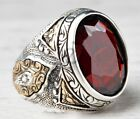 Turkish 925 Sterling Silver red ruby stone Mens mans ring ALL SİZE us #0100