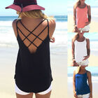 Fashion Women's Summer Casual Vest Solid Color Breathable Back Hollow Out Strap