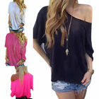 Sexy Womens Summer Loose One Shoulder Short Sleeve Casual T-Shirt Blouse Tops US
