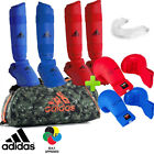 New! Full Red & Blue adidas Karate WKF Competition Sparring Gear Set w/ Bag!