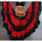 RED Satin Gypsy Skirt 5 Tier 32 Yard Belly Dance Tribal Costume Ethnic Jupe