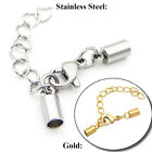 Внешний вид - Stainless Steel Silver Set Round Cord End Cap Glue Lobster Clasp Extension Chain
