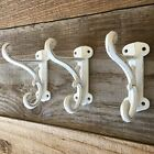 3 Pc Rustic Wall Large Ornate Hooks Distressed White Vintage Cast Iron Coat Hat