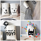 100% Canvas Storage Bag With Holder Laundry Bag Pouch For Baby kids Toys Clothes