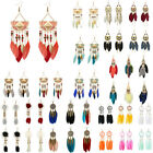 Vintage Women Bohemian Hollow Feather Beads Long Drop Dangle Hook Earrings Sanwo