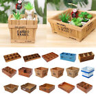 Wooden Succulent Pot Plant Flower Container Desk Storage Box Garden Decor